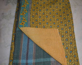 Indian Handmade Quilt Vintage Twin Kantha Bedspread Throw Cotton Blanket BY artisanofrajasthan 2311