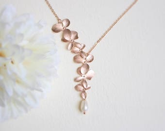 Orchid flower and Fresh water pearl necklace, Rose gold necklace, Bridesmaid gift, Bridesmaid necklace, Wedding necklace, Mothers day gift