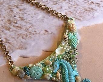 Ocean Assemblage Necklace, Assemblage Jewelry, Ocean Necklace, Seahorse Necklace, Ocean, Assemblage, Statement Necklace, Seahorse, OOAK