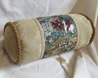 Handmade ENGLISH FOXHUNTING Neckroll Pillow Tan/Green Quality Cotton & Upholstery Fabric w/Twisted Piping Trim