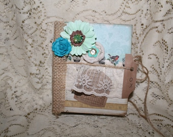 Mini Scrapbook Album Turquoise and Lace