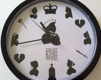 The Tudors. The Six Wives of King Henry VIII Silhouette Wall Clock.