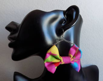Pink bow tie fabric chain earring