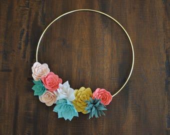 "Felt Floral and Succulent Wreath - 12"" - Nursery Decor - Home Decor - Pink Yellow Mint"