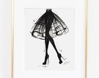 "Fashion Illustration Print, LBD, 8x10"""