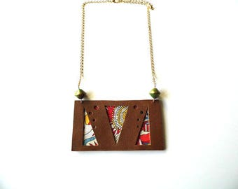 Fabric and brown leather necklace