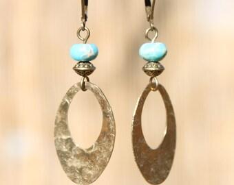 Boho Earrings Bohemian Earrings Turquoise Earrings Boho jewelry Chic Hoop Drop Dangle Earrings Jewelry Gift for her gift for women