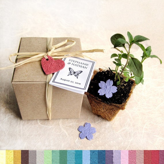 15 Seed Paper Wedding Favors Plantable Pots and Seed Paper