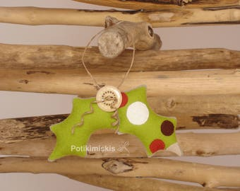 Christmas felt ornament, Holly leaves, Christmas, handicraft, felt decoration, Christmas ornament