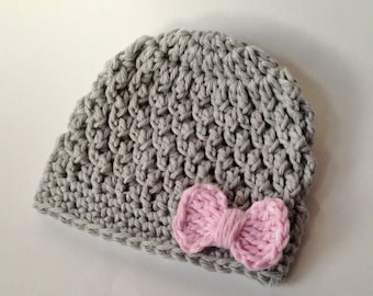 Baby Hat - Crocheted Baby Hat - Gray/Pink Hat - Bow Hat -Photo Prop - Girl Hat - Baby Girl Hat - Knit Hat