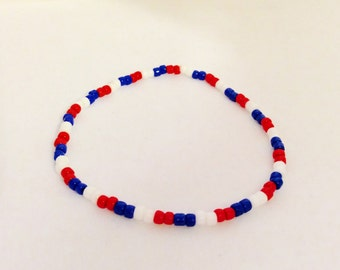 patriotic bracelet, spring summer, red white blue, stretch bracelet, patriotic jewelry, adult bracelet, JeriAielloartstore, made in America