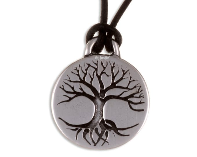 Tree of life disc pendant on leather thong- Hand Made in UK
