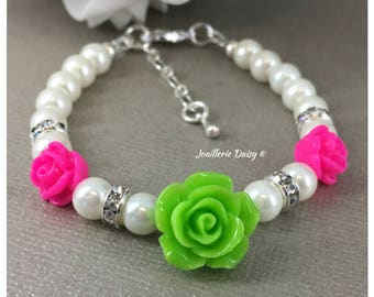 Flower Girl Gift for Flower Girl Bracelet Hot Pink and Apple Green Flower Girl Jewelry Pearl Bracelet Jewelry Charm Bracelet Wedding Jewelry