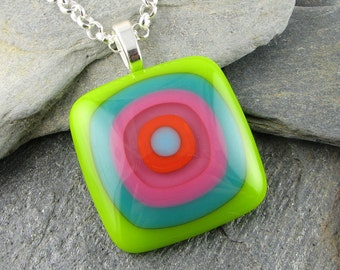 Glass Pendant Design in Lime, Teal, Pink, Orange and Turquoise. Bullseye Design. Colorful Pendant. Fused Glass Pendant. Modern Jewelry.