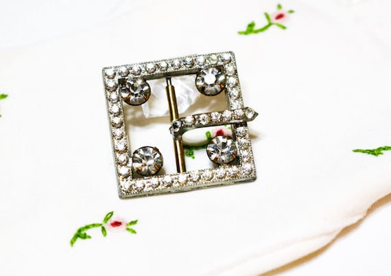 Small Art Deco Belt Buckle, Clear Pave Crystals, Rhinestone Belt Buckle, 1920s, Wedding Special Occasion Antique Jewelry