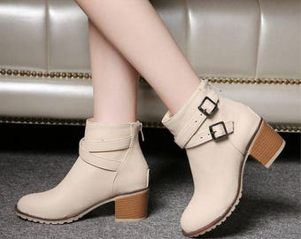 Buckle Strap Zip-Up High Heel Boots in 3 Colors