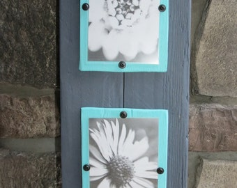 Wood Plank Double Frame for 4X6 Photos - Shabby, Rustic, Cottage Chic, Charcoal Grey, Aqua
