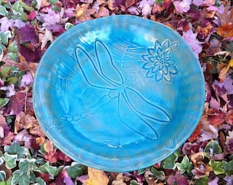 Ceramic Birdbath, Ceramic Dragonfly Birdbath, Dragonfly Birdbath, Ceramic Birdbath on a Copper Pole, Turquoise Birdbath