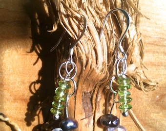 Peridot, Rose Quartz, Freshwater Pearl and Sterling Silver gemstone art earrings