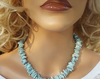 Larimar and Sterling Silver Necklace, Large Chunky Larimar and Sterling Necklace, Large Larimar and Sterling Silver Necklace, Large Larimar