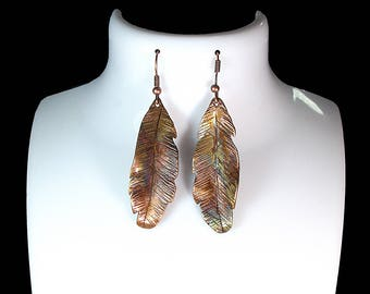 Hammered copper feather earrings, Forged copper earring, Artisan Copper earrings, Hammered copper earring, copper earrings, Feather earrings