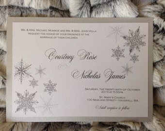 Winter snowflake wedding invitation set with reply
