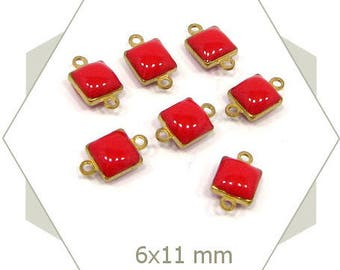 10 mini GE18 red enamel square connectors