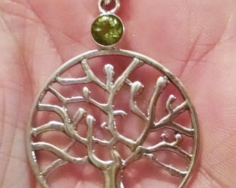 Tree of Life with Peridot ~ 925 Sterling Silver Pendant