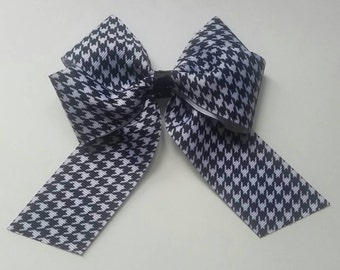 Houndstooth Black and White Bow , Handmade
