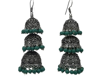 German Silver Oxidized earrings Three Layer Jhumka || Jaipuri earrings-Rajasthani temple Jhumki
