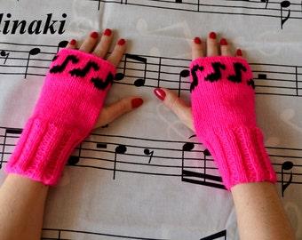Knit Music Notes Fingerless Gloves Hot Pink Mittens Hand Wrist Warmers