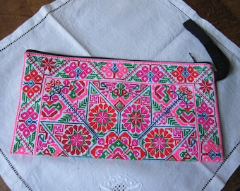Original embroidered, ethnic, hand clutch, geometric patterns