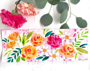 Spring Floral Painting 12x4.5 inch ORIGINAL painting on watercolor paper / watercolor & acrylic flower painting / spring home decor