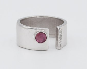 pink tourmaline ring ,pink tourmaline silver ring, pink stone, wide silver ring sterling silver October birthstone ring, made in Greece