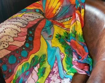 Silk Scarf Girl Scarf Avatar Scarf Special Scarf Beautiful Scarf Lines Scarf Bright Scarf Handmade For Women