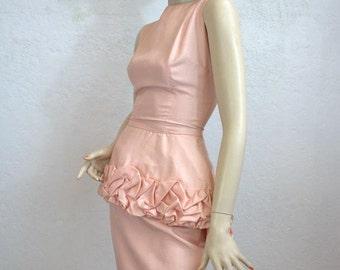 "1960's Pink Wiggle Silk Dress / Ruffled Peplum / Size: 23"" Waist"
