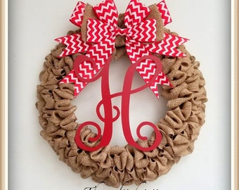 Front Door Wreaths-Spring Wreath for Front Door-Front Door Wreaths-Summer Burlap Wreath-Summer Wreath-Monogrammed Wreath-Personalized Wreath