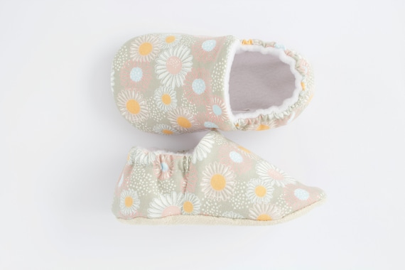 Grey floral cotton lined baby girl shoes Pre walkers and toddlers shoes