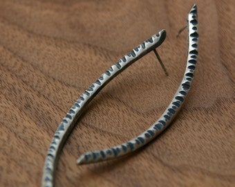 Ripple Earrings, in polished or oxidized silver