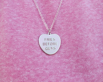 Girl Necklace, Valentines Day Gift For Kids, Kids Valentines, Fries Before Guys™ Necklace, Valentines Day Gift, Best Friend Necklace