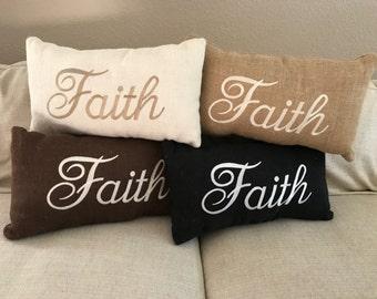 "Embroidered Burlap ""Faith"" Pillow"