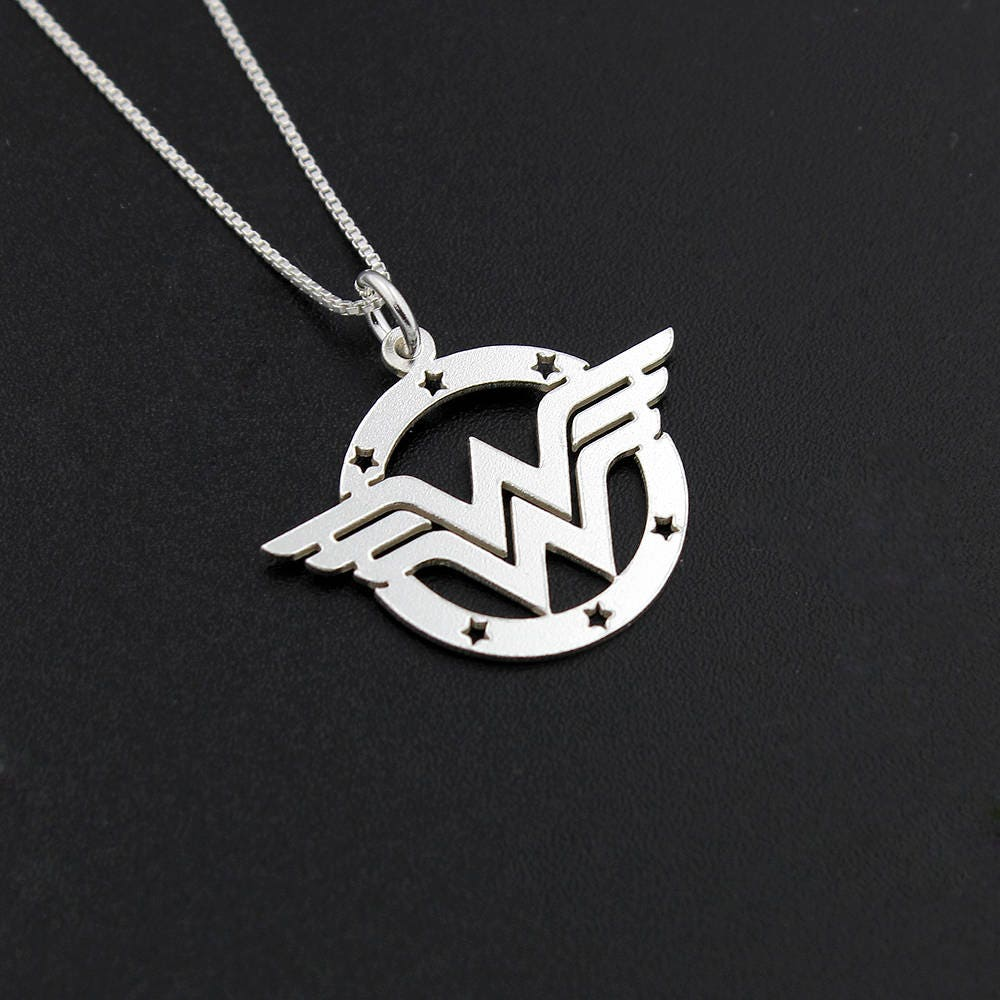 Wonder woman necklace sterling silver wonder woman symbol description wonder woman necklace buycottarizona Choice Image