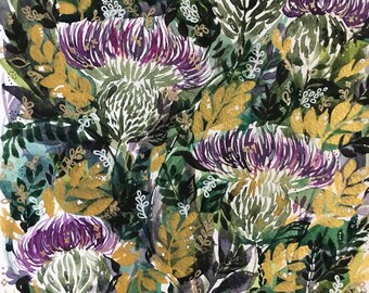 Gold and violet watercolor floral painting 7x10in
