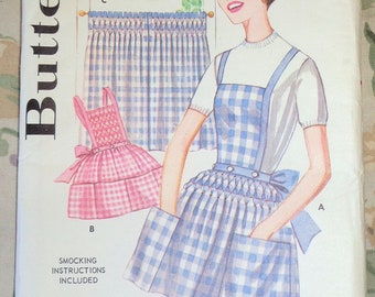 Vintage Butterick 2515 Sewing Pattern 1950s-1960s Smocked Apron Matching Cafe Kitchen Curtains Partial Cut Complete
