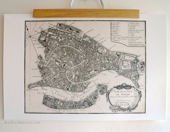 Antique Map Print of Venice eco paperItaly Made in Canada Canal Italia Europe Gondola Travel Voyage Abroad Island