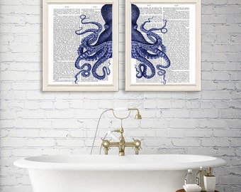 Collection 2 Prints - Octopus Halved - Octopus print octopus poster octopus gift wall art print nautical print nautical decor bathroom print