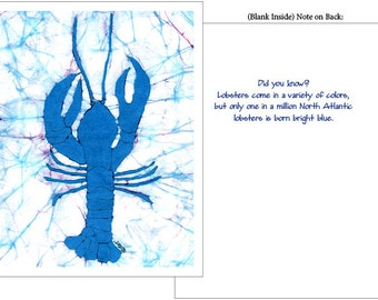 Blue Lobster Fun Fact Blank Card - 4 Pack