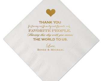 100 Personalized Napkins Wedding Napkins Custom Modern Printed Beverage Cocktail Thank You For Sharing This Day With Us Message Bride Groom