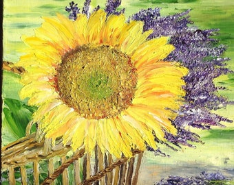 """Painting """"Summer colors"""" sunflower and lavender - Provence landscape"""