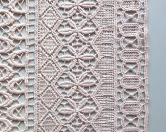 Blush Pastel Pink Guipure Banded Lace Fabric with Geometric Stripe Pattern - 130cm wide - sold by the metre - UK SELLER (N3)